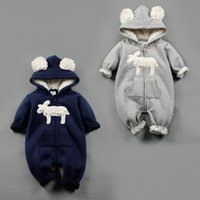 baby neck size - NEW Design infant Kids Winter Cashmere Romper Stereo Little Sheep long sleeve baby warm Climb clothe boy girls Winter Rompers set RMY40