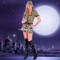 athletic women models - DHL free Military dance uniforms halloween costumes uniforms female models camouflage skirt for women stage loaded Square dance clothing