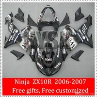 Prezzi Kit e bike-ZX10R 2006 2007 06 07 Carrozzeria Bianco e nero carenature per Kawasaki ZX-10R Ninja ZX 10R 2006-2007 occidentale corsa Bike Parts OEM carenatura Kit