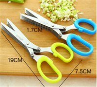 Wholesale Stainless Steel Cooking Tools Kitchen Accessories Knives Layers Scissors Sushi Shredded Scallion Cut Herb Spices Scissors jy400