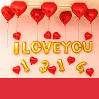 Wholesale foil balloon theme set letter heart love party decoration birthday supplies with coloured ribbon tape pump