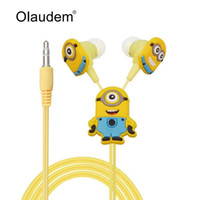 Wholesale 2015 Despicable Me Minions Cartoon In ear Wired mm Earphone for MP3 MP4 Mobile Phone With Earplug Cover EP338