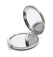 metal compact mirror - Silver Compact Mirror Dual Side blank Magnifying Costmetic Makeup Mirror Wedding gift idea M065P
