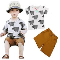 baby hippos - Hippo cartoon printed cotton short sleeved boy baby clothes newborn CM two pieces set casual beach clothes E213