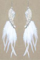 angels feathers wings - Feather Earrings Colors Cute Angel Wing Charm Light Dangle Eardrop Hot White Black Deep Pink Orange Yellow Purple JF155
