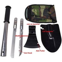 Wholesale Super in1 Multi function Military Portable Folding Shovel AXE Survival Knife Saw Inside Handle Outdoor Camping Emergency Tool