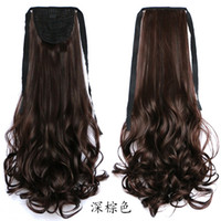 ponytail extensions - Natural Black Brown Curly Wavy human Ponytail Hair Extensions Binding Hairstyle for Lady Woman Hairpiece Blended Hair Ponytails Pony Tail