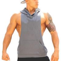 basketball hood - Men s Hoodie Tank Top GYM Bodybuilding Vest With Hood For Muscle Men Hoodie Stringer Tank Top With Hood Basketball Gym