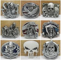 Wholesale Fashion Skull Gun Cowboys Metal Belt Buckle Texas Styles Confederate Southern South Rebel Dixie Flag CSA Belt Buckle Free DHL E871L