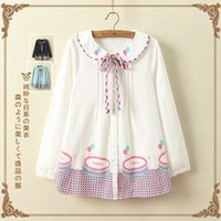 Wholesale 2016 autumn new purified cotton loose blouse Japanese all match student Doll collar shirt