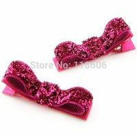 baby hair snap clips - 200pcs Fuchsia Red Baby Hair Clips Mini Snap Clips Glitter Hair Clip
