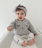 babies sleeve months - NWT New cute Baby Girls Boys Outfits Set Summer Spring Sets Boy Cotton Long Sleeve Tops Shirts Harem Pants piece sets Eyelash