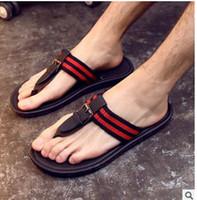 b loose - Summer men s shoes flip flops for loose fitting men beach slippers rubber flip flops outdoor massage men sandals