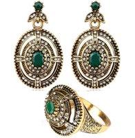 Mirada antigua de la vendimia plateó los pendientes del anillo oval de la turquesa Oro sistemas de la joyería cristal de Austria del anillo del pendiente de la boda Sistema de la joyería