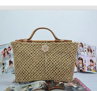 bag wan - 40X25CM The new Europe quality high grade rattan woven wan shaped straw bag fashion women handbag