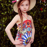 Wholesale WL MONSOON New Style Girls One Piece Swimsuit Girl Lemon Swimming Suit Halter Bathing Suit Euro Palace Style Printed