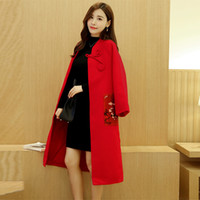 Wholesale 2016 Fall Winter New Woolen Coats For Womens Fashion Red Print Pockets Long Sleeve Single Breasted Slim Long Outerwear Overcoat