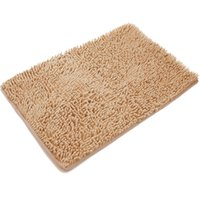 Wholesale Soft Non slip Microfiber Polyester Chenille Shaggy Bath Mat Bathroom Mat Shower Rug inch for bathroom and kitchen Grey