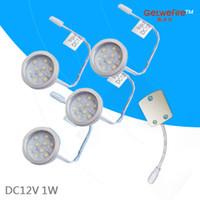 al por mayor 1w 12v fuente de alimentación-Niza LED 12v 4pcs 1W LED Puck / gabinete de luz, proyector LED con 9pcs 2835 leds + 1pcs línea del conector (sin fuente de alimentación)