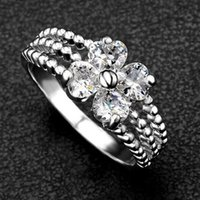 Wholesale High End Refinement Fine Jewelry Accessories Crystal Hearts Clover Flowers Bridal Engagement Fingers Wedding Bands Rings For Women Lovers