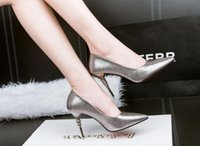 Wholesale European and American fashion OL career pointed shallow mouth high heeled shoes fine with sexy high heeled shoes were thin minimalist yangxi