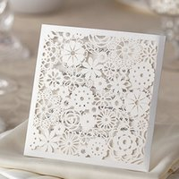 Wholesale New Wedding Invitations Laser Cut Customizable Hollow Crystal Lace Bow Ribbon Wedding Invitation Cards Supplies Printable Cards WM204