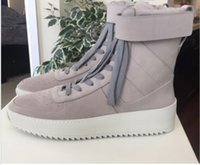 Wholesale FEAR OF GOD Military High Top Sneakers Black Suede Gum Grey Fear of God Military Sneaker Black with box DHL