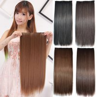 Wholesale 24 quot cm Synthetic Clip In Hair Extension Heat Resistant Hairpiece Natural Straight Hair Extensions Cilps