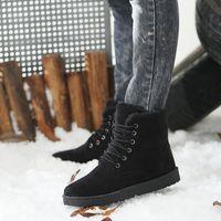 Wholesale Hot Men Snow Boots European Fashion Men Lace Up Leather Flats Winter Warm Fur Ankle Boots Classic High Top Platform Shoes