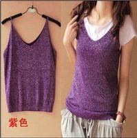 Wholesale Korean Halter Tops - Korean women were thin bright silver vest halter top sleeveless V-neck sweater vest bottoming bottoming shirt
