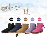 cow calf - Hot commemorative Sheepskin fur one bowknot skid Duantong snow boots winter snow boots women boots Size US4 US9