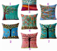 Wholesale Colorful Season Life Tree Cushion Cover Car Waist Throw Pillow Cover x18 inches Pillowcase Home Decor