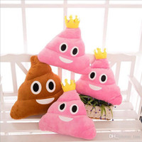 Wholesale 2016 New Arrival cm emoji plush toys Pillow Cushion cartoon inches Poop Stuffed Animals Pillows dolls crown pink rainbow color