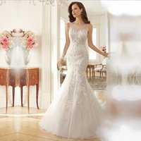 Wholesale Europe and the United States the bride fish tail sexy perspective backless lace wedding dresses