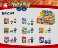 Wholesale Poke go minifigures DIY Building Blocks style NEW children Pikachu Jeni turtle Charmander Poke Ball DIY Bricks Toys SY620