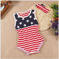 band baby onesies - 2016 Infant Summer American Flag Rompers Baby Sleeveless th Of July Independence Day Jumpsuits With Hair Band Toddler Onesies One Piece