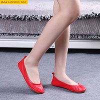 ballerina flats for women - 2016 Fashion Brand Ballerina Shoes Women Leather Ballet Flats Foldable And Portable Travel Flat Pregnant Shoe For Bridal Wedding