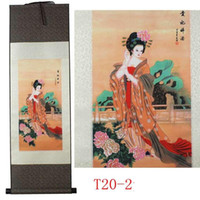 Wholesale Silk scroll painting decoration craft gifts with Chinese characteristics Calligraphy and painting business gifts drunken beauty diagram
