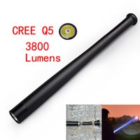 baseball battery - CREE Q5 LED flashlight tactical flashlight by Torch Long Light Baseball Bat Shape self defense Mode without battery and charger