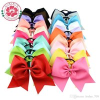 Wholesale 8 quot Large Cheer Bow With Elastic Band Cheerleading Hair Bow Dance Cheer Bow Ponytail Hair Holder For Girls Hair Accessories