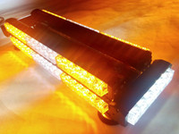 amber beacon - DOUBLE FLOOR FOUR SIDE W LED WORK LIGHT BAR BEACON WARNING STROBE AMBER WHITE