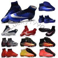 Wholesale Original children MerCURial SuPERfly CR7 cleats shoes womens MaGista OrDen II FG AG High Ankle football Boots turf youth Kids soccer boots