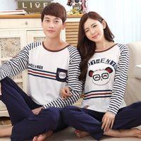 Wholesale new autumn and winter long sleeved cotton couple pajamas cartoon cute pijama feminino plus size men sleepwear M XXXL