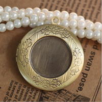 Wholesale 50pcs ANTIQUE BRONZE mm Round Photo Locket Frame for DIY Necklace Pendant Findings Settings for Jewelry Making