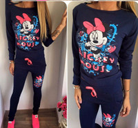 Wholesale Two Piece Set Sport Suit Winter Women Mickey Mouse Print Hoodies Casual Sportswear Trousers Tracksuit Jogging Suits