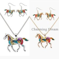 Wholesale 2016 New Arrival Pendant Necklace and Earrings Set Enamel Rainbow Color Horse Jewelry set For Women