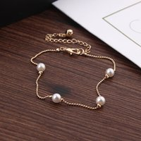 Wholesale Simple Style Gold Chain Pearl Beaded Bell Anklet Femme Barefoot Pearl Foot Chain Beach Jewelry