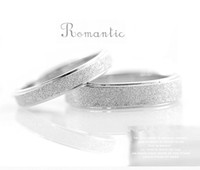 Wholesale High quality titanium stainless steel frosted matting wedding couple ring for women men lovers shining engagement ring free engrave names