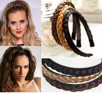 Wholesale Woman s Girls Braided Hairbands Plaited Hair Ropes Synthetic hair rings Hair Circle Hair Accessories Hairpiece