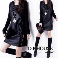 Wholesale 2016 New spring Autumn And Winter fashion Women Knit Leather Dress Slim Long Sleeved Casual Clothing PU Leather Dresses